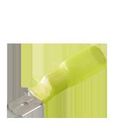CTWP87 Yellow Male Spade Heatshrink Terminal 6.3mm spade width